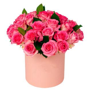 Цветы в коробке «Малиновый»